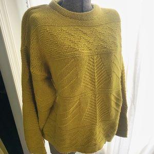 Vintage Yellow Green Geometric Sweater